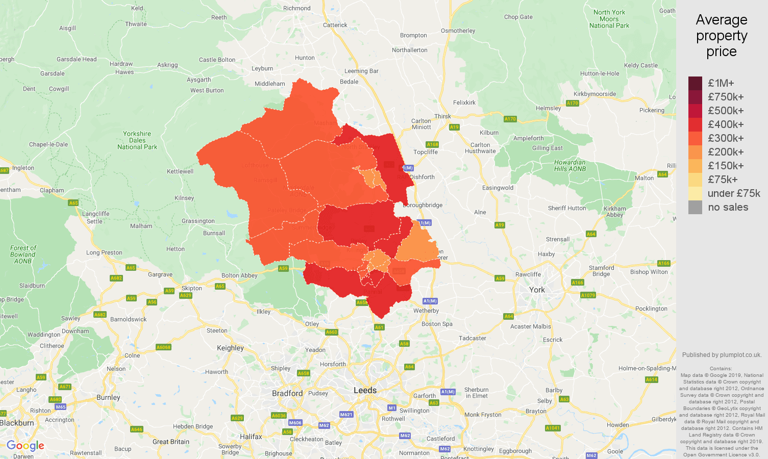 Harrogate house prices map