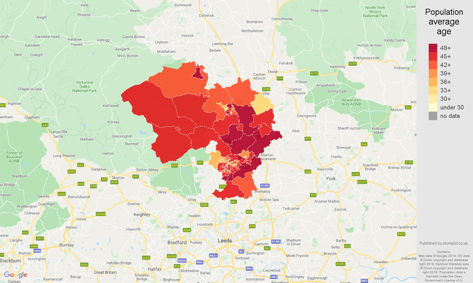 Harrogate population stats in maps and graphs