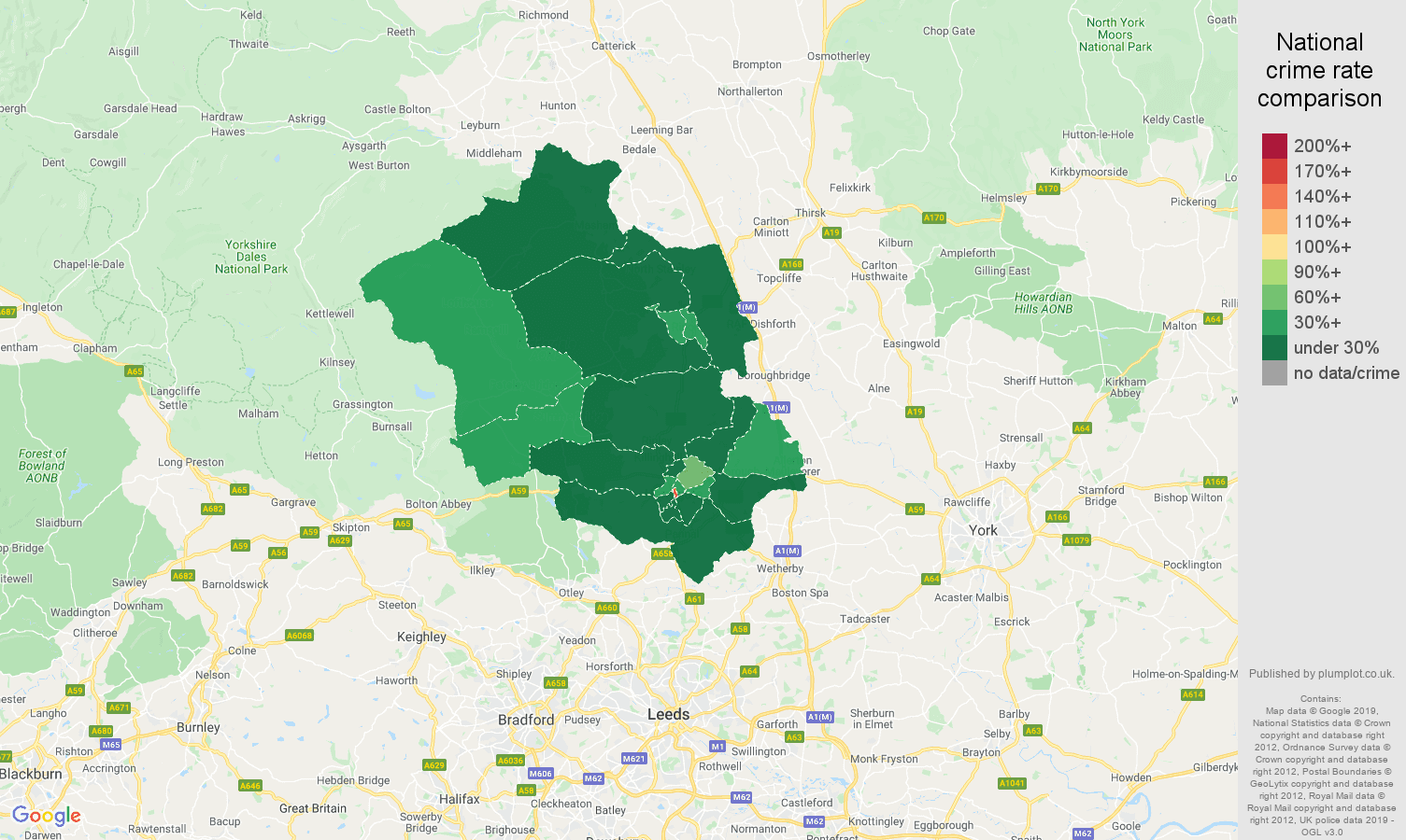 Harrogate public order crime rate comparison map