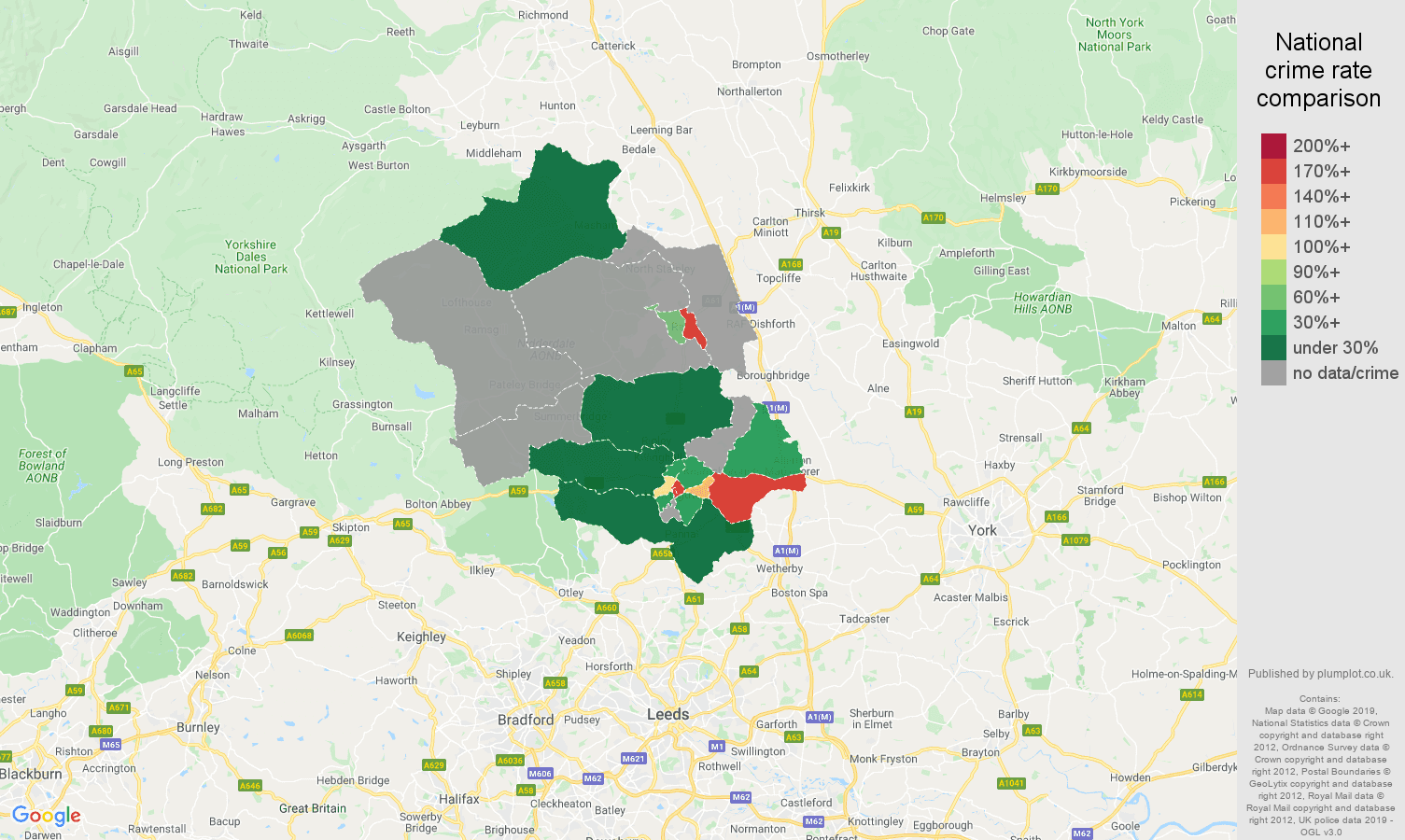 Harrogate shoplifting crime rate comparison map