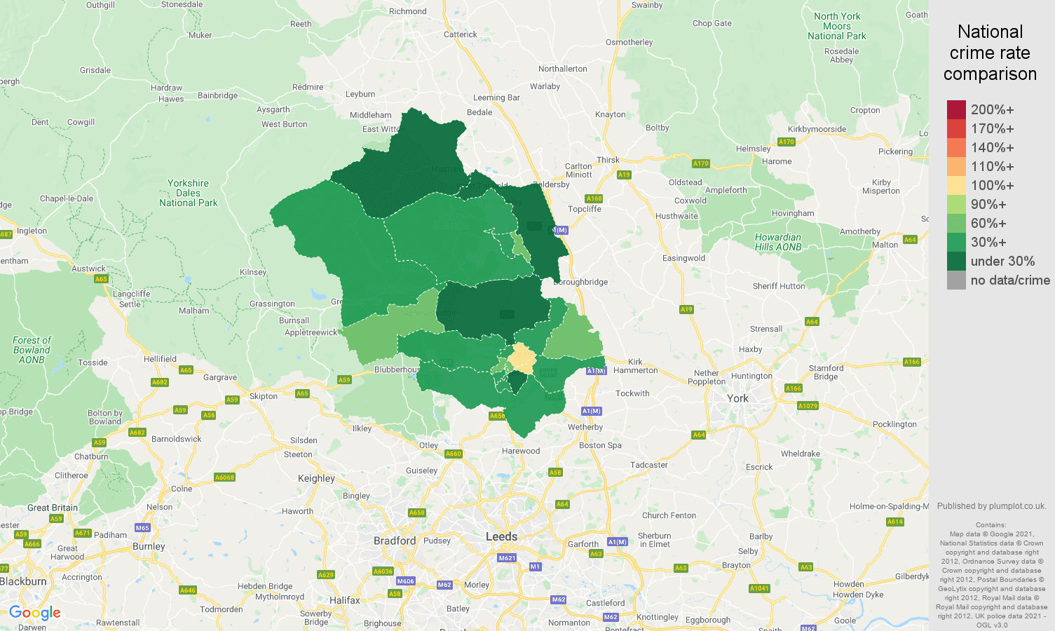 Harrogate violent crime rate comparison map