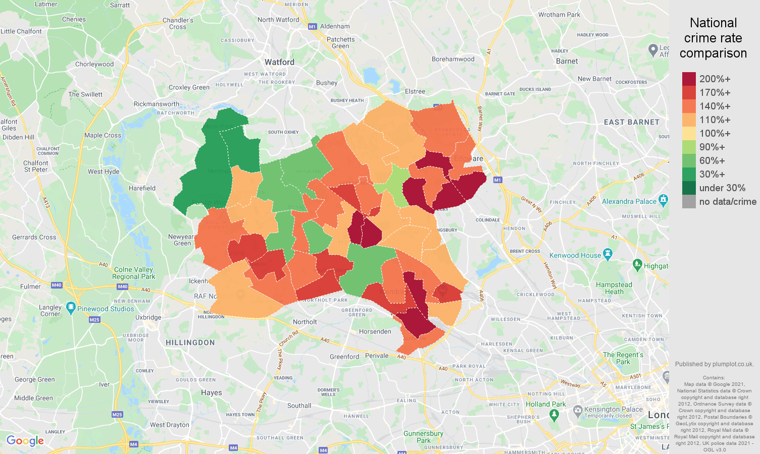 Harrow antisocial behaviour crime rate comparison map