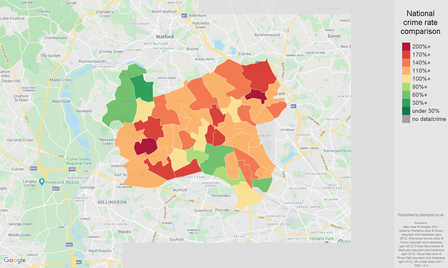 Harrow burglary crime rate comparison map