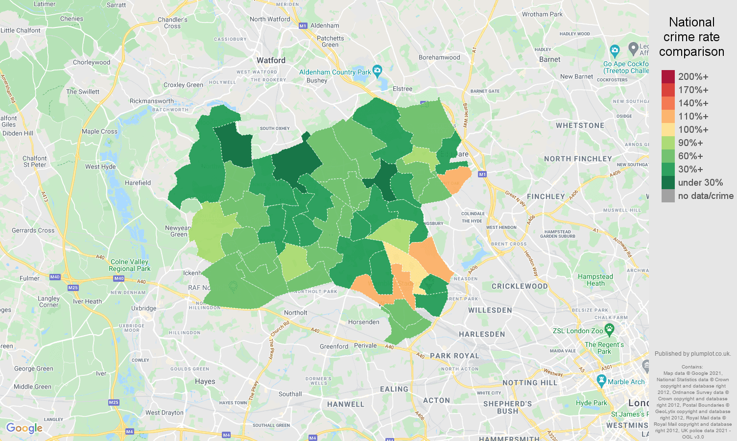 Harrow criminal damage and arson crime rate comparison map