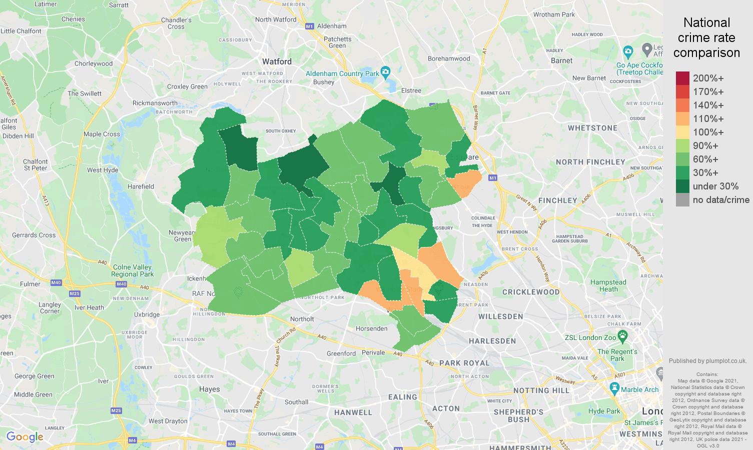 Harrow criminal damage and arson crime rate comparison map