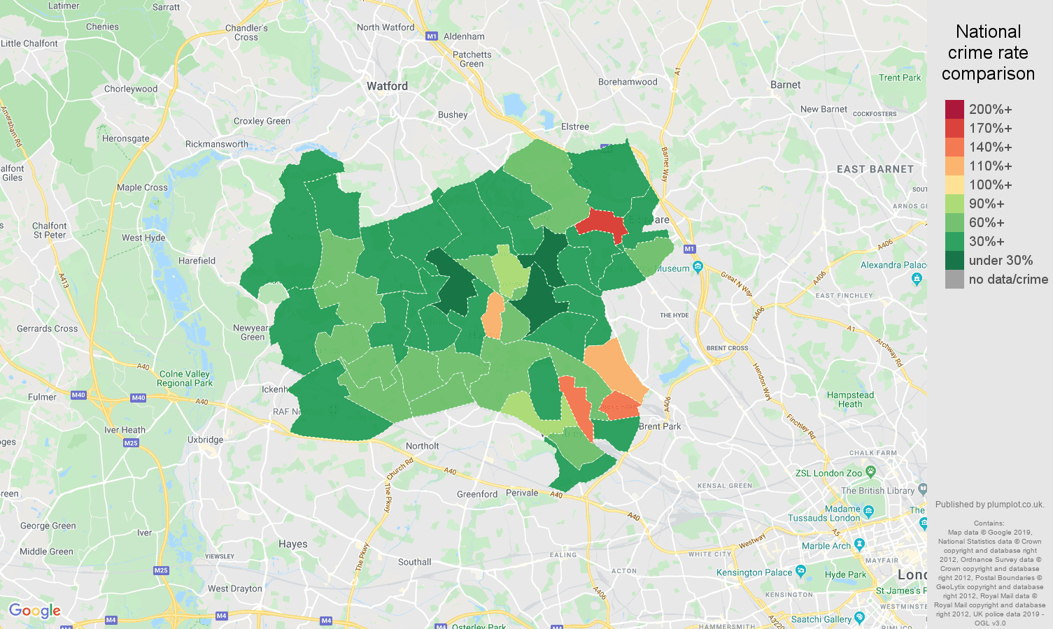 Harrow public order crime rate comparison map