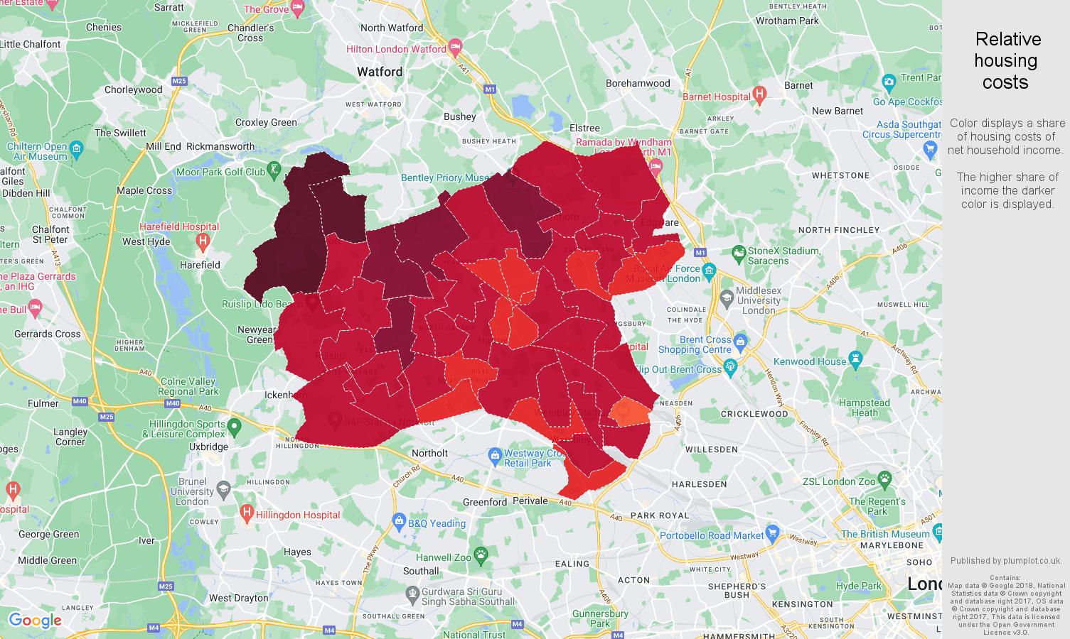Harrow relative housing costs map