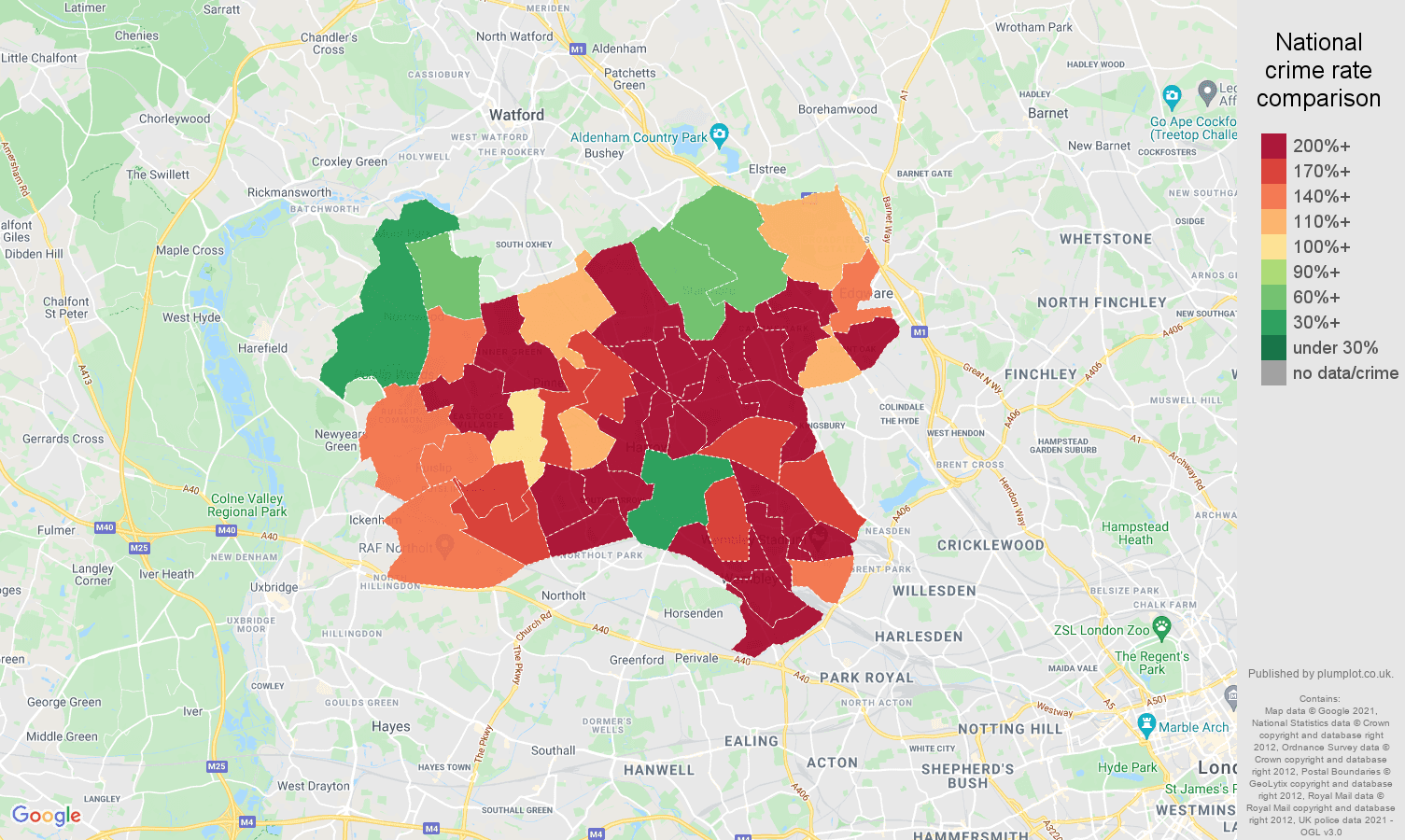 Harrow robbery crime rate comparison map