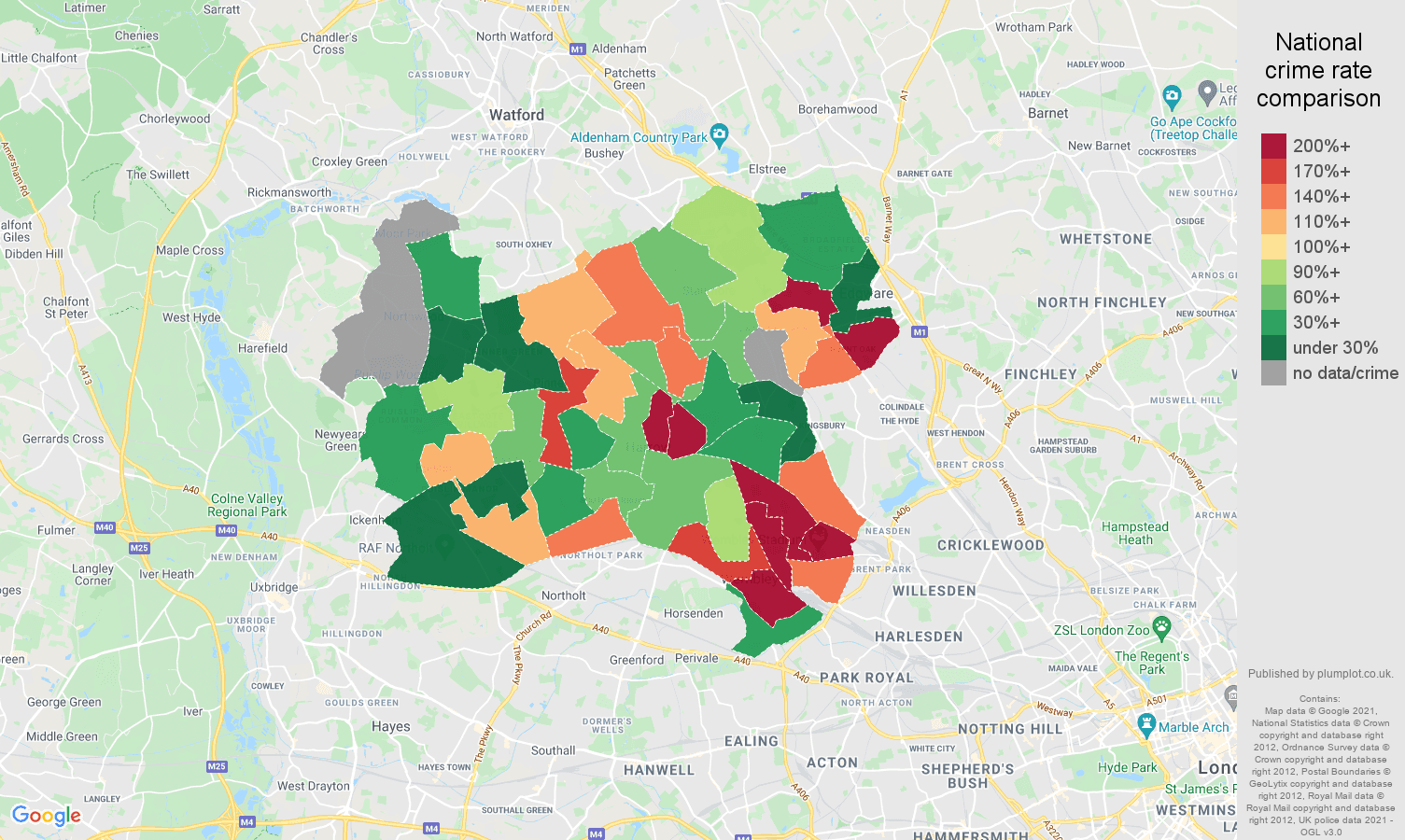 Harrow theft from the person crime rate comparison map