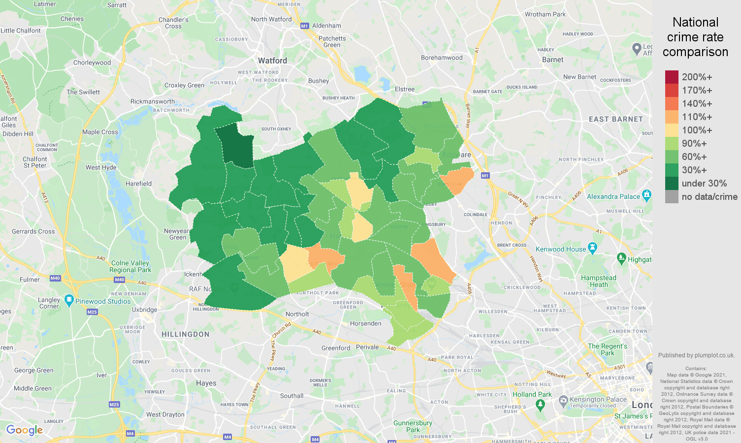 Harrow violent crime rate comparison map