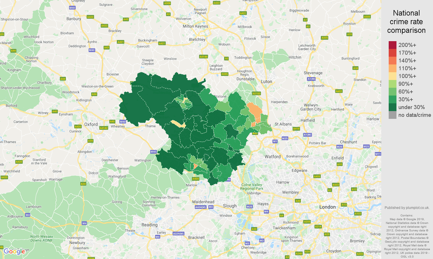 Hemel Hempstead public order crime rate comparison map