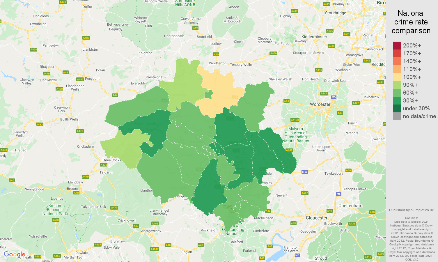 Hereford burglary crime rate comparison map
