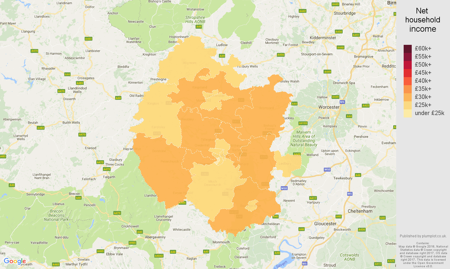 Hereford net household income map