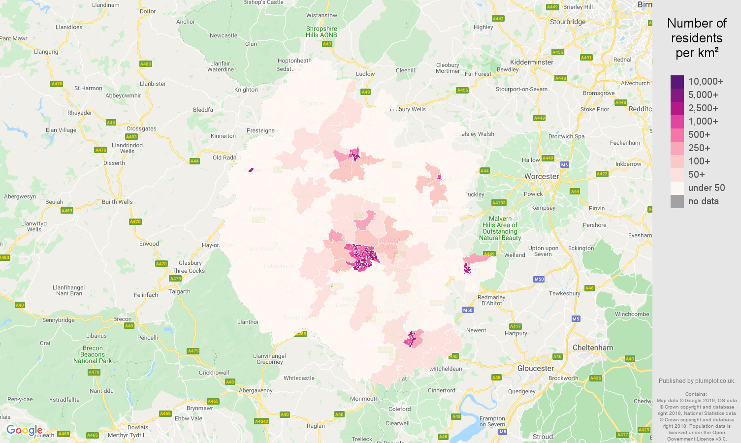 Hereford population density map