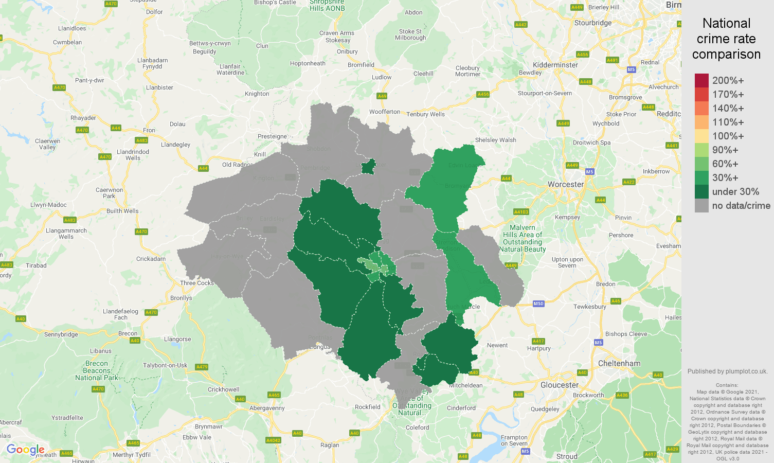 Hereford robbery crime rate comparison map
