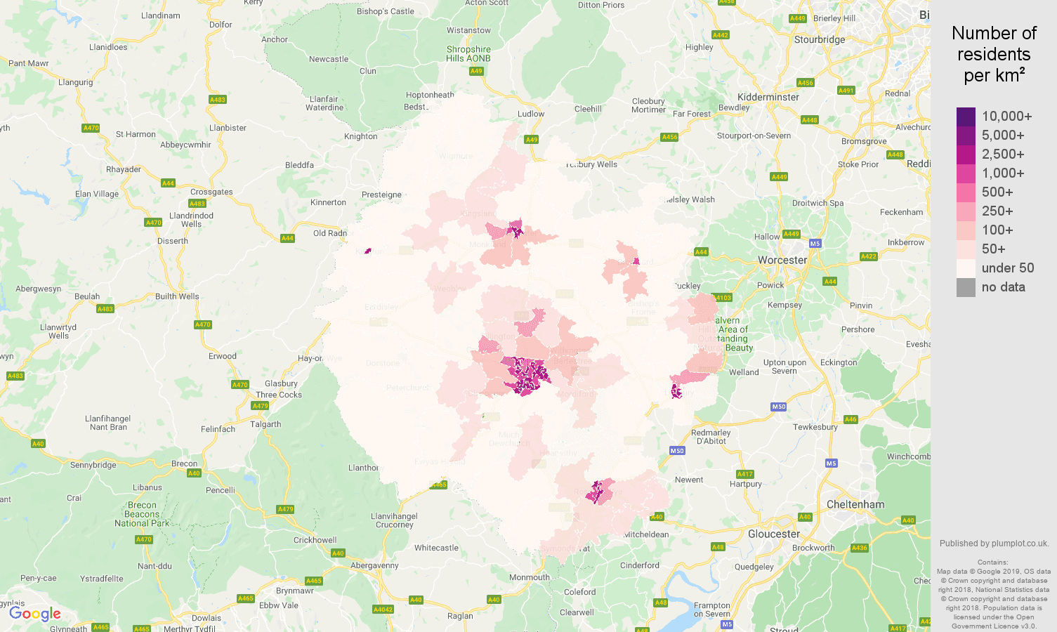 Herefordshire population density map