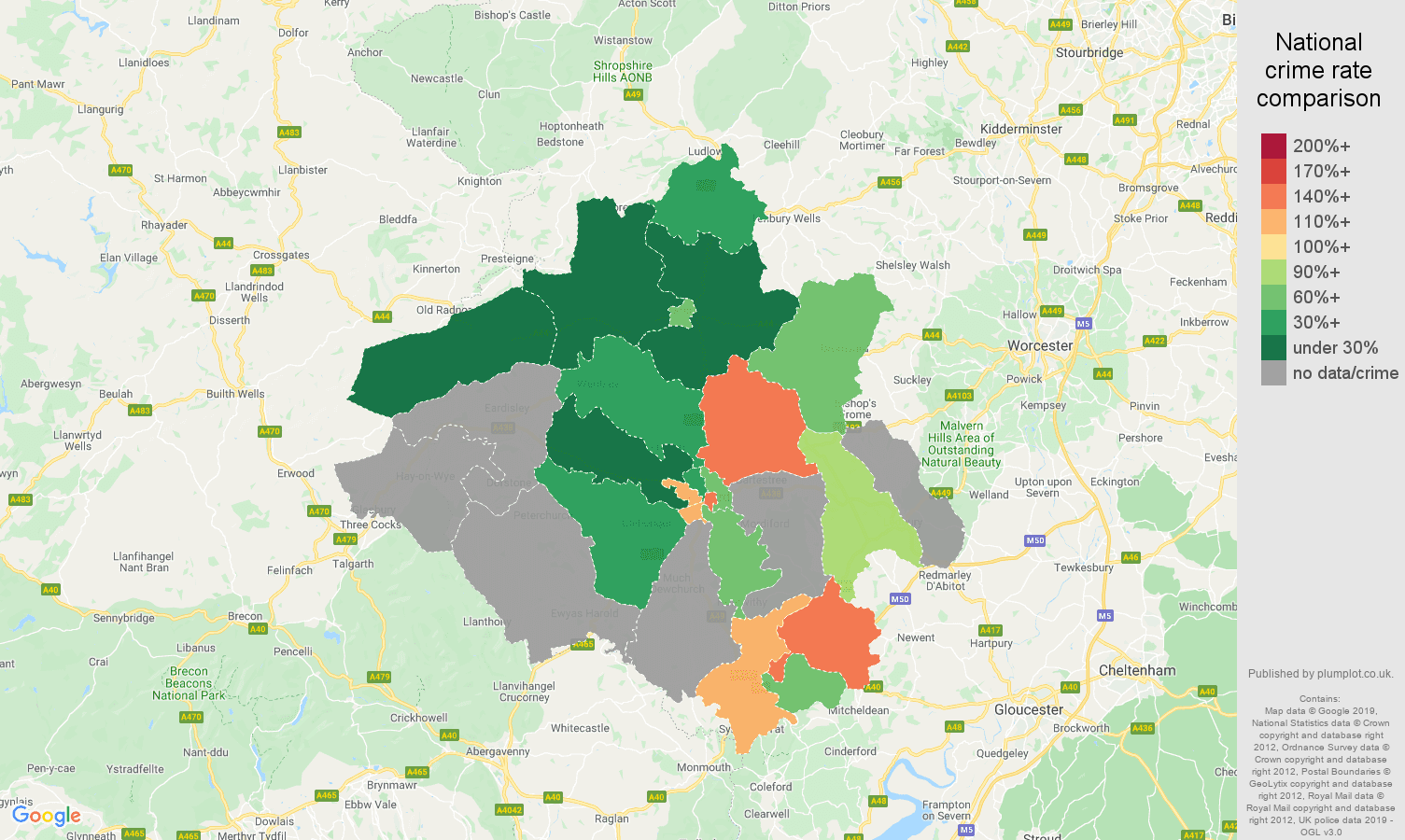 Herefordshire possession of weapons crime rate comparison map