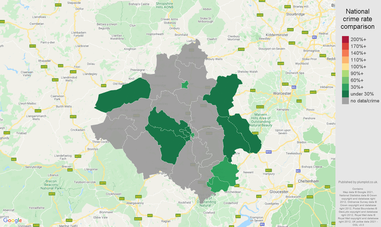 Herefordshire theft from the person crime rate comparison map