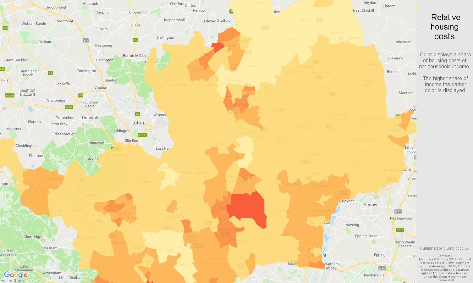Hertfordshire relative housing costs map