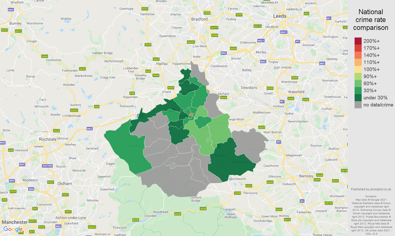 Huddersfield bicycle theft crime rate comparison map