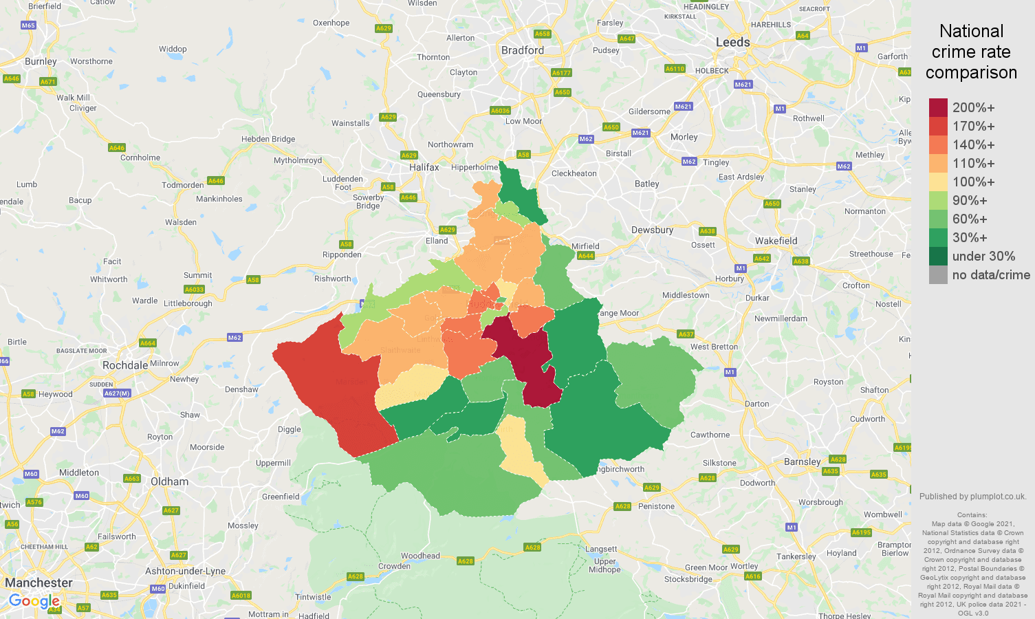 Huddersfield criminal damage and arson crime rate comparison map