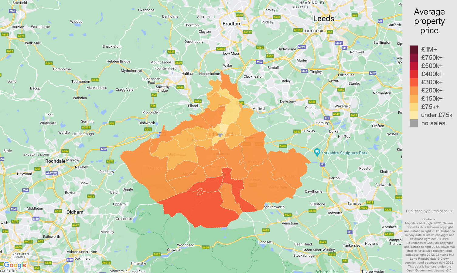 Huddersfield house prices in maps and graphs