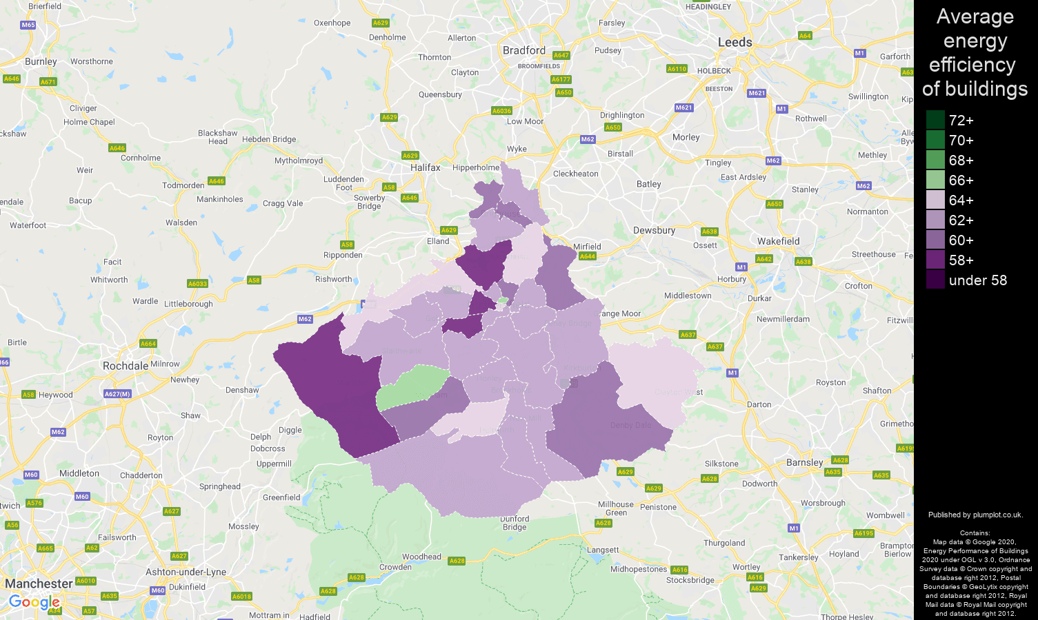 Huddersfield map of energy efficiency of properties