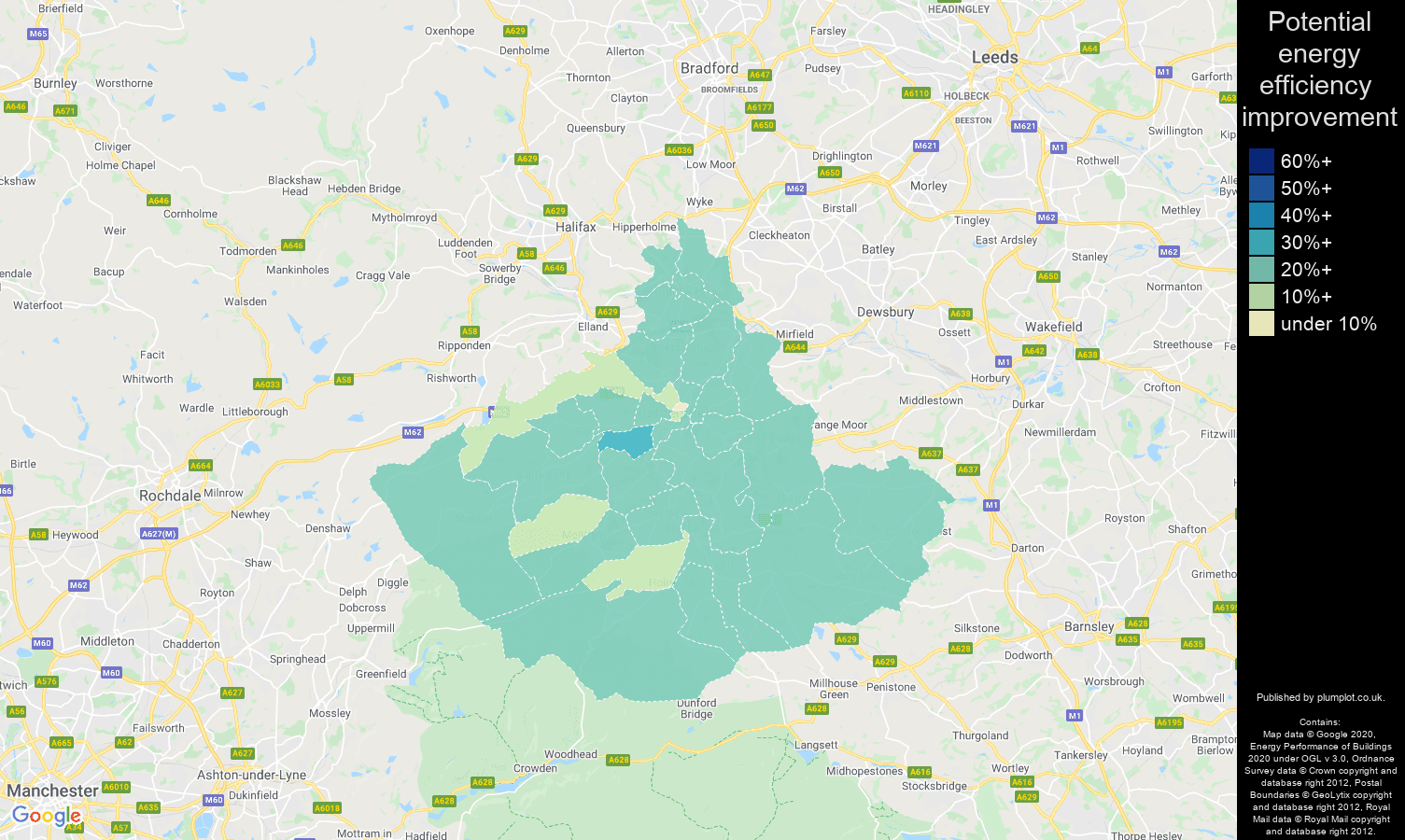 Huddersfield map of potential energy efficiency improvement of properties