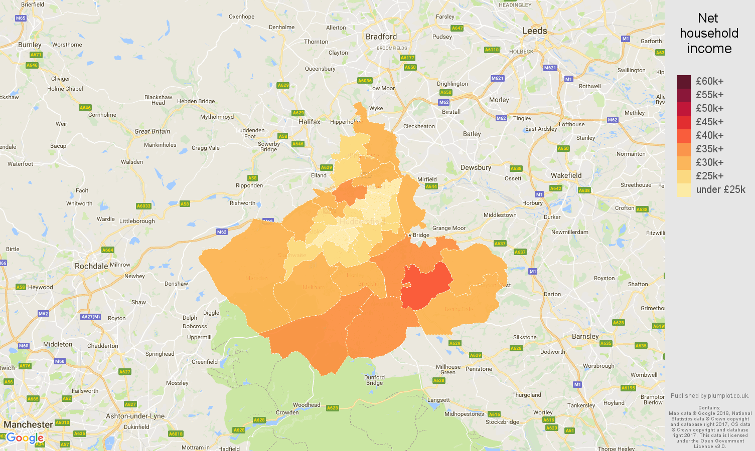 Huddersfield net household income map