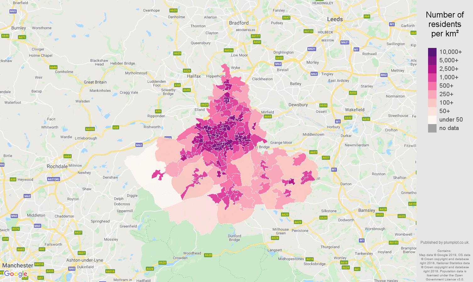 Huddersfield population stats in maps and graphs