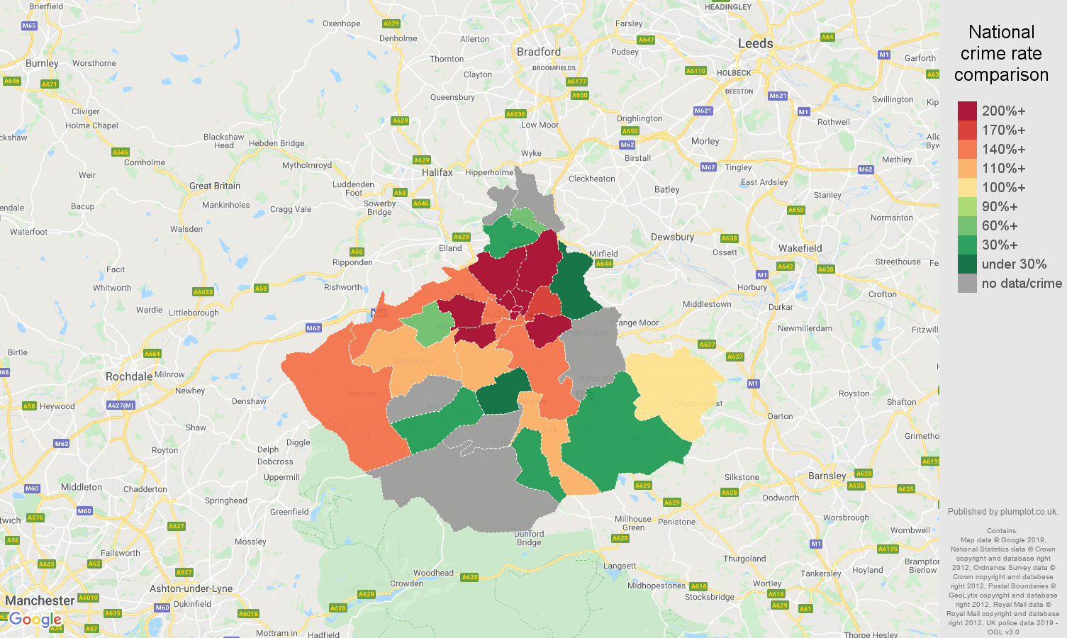 Huddersfield possession of weapons crime rate comparison map