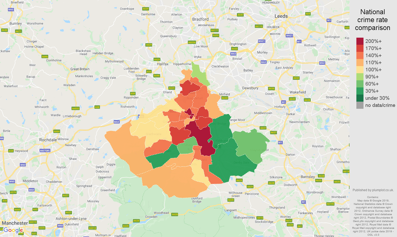 Huddersfield public order crime rate comparison map