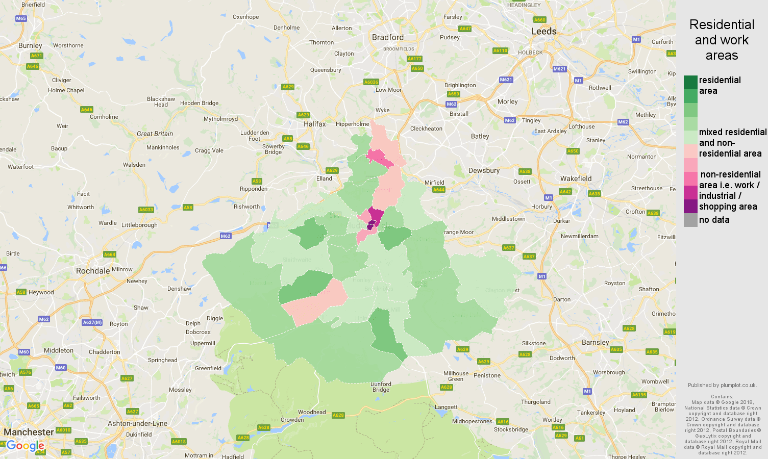 Huddersfield residential areas map