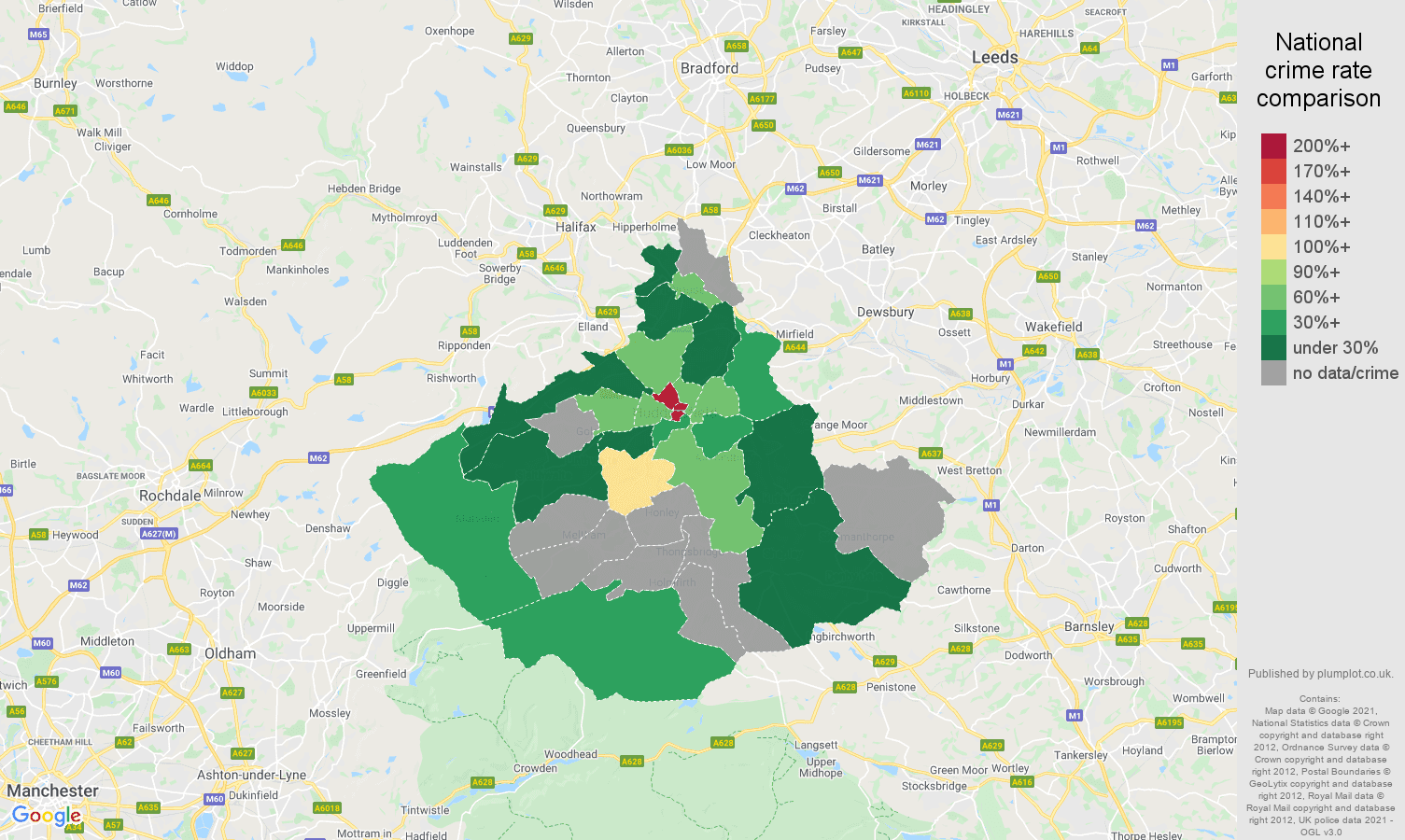 Huddersfield theft from the person crime rate comparison map