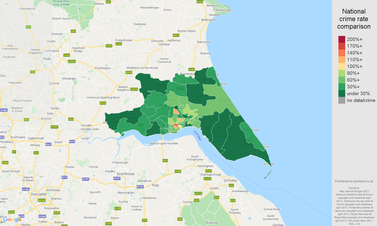Hull antisocial behaviour crime rate comparison map