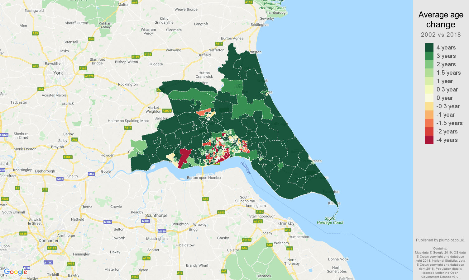 Hull average age change map