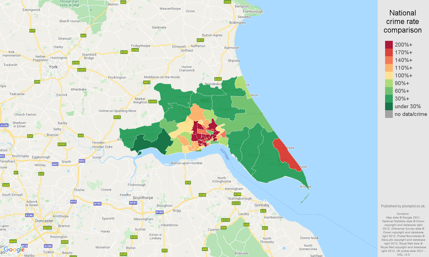 Hull burglary crime rate comparison map