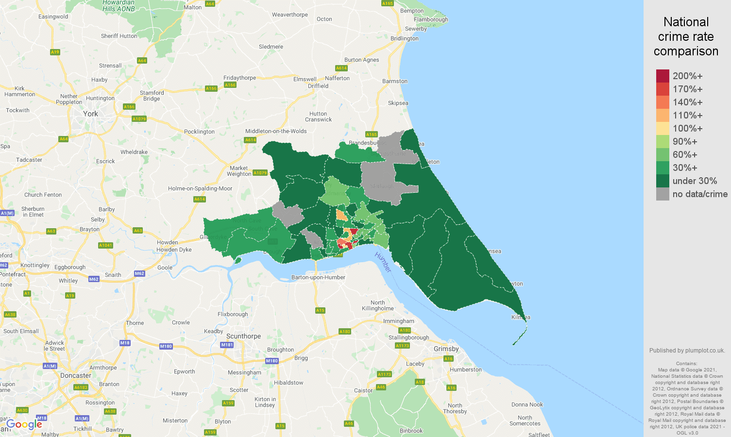 Hull drugs crime rate comparison map