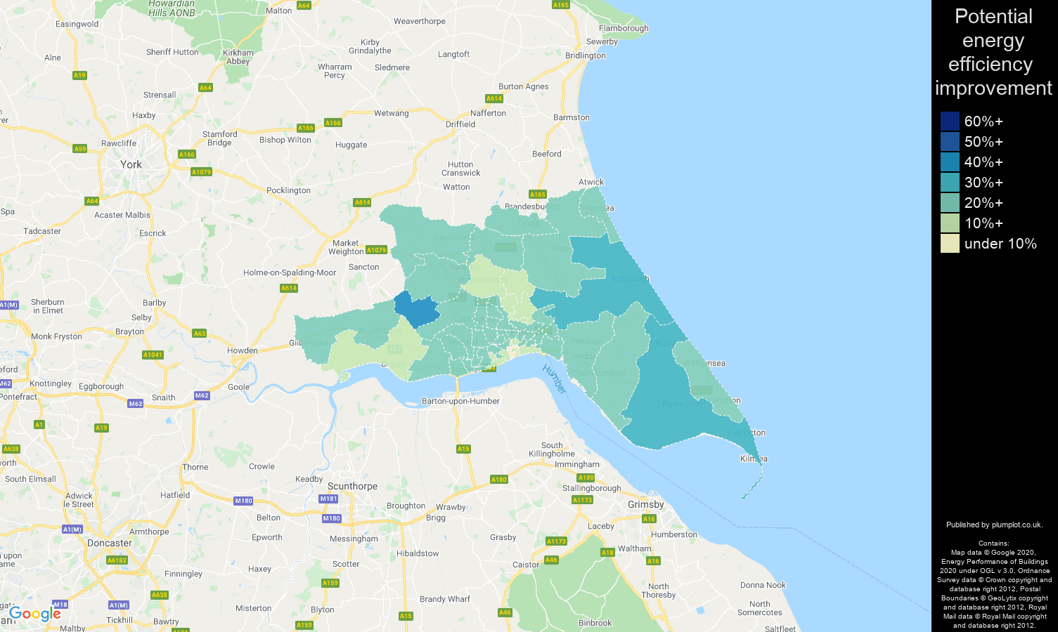 Hull map of potential energy efficiency improvement of properties