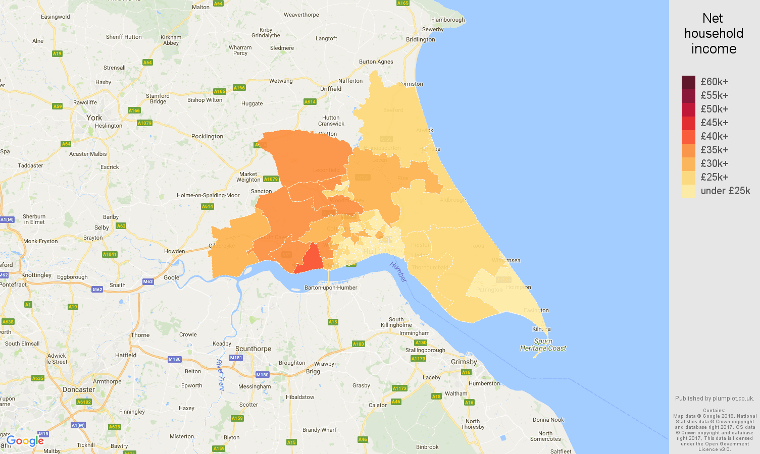 Hull net household income map