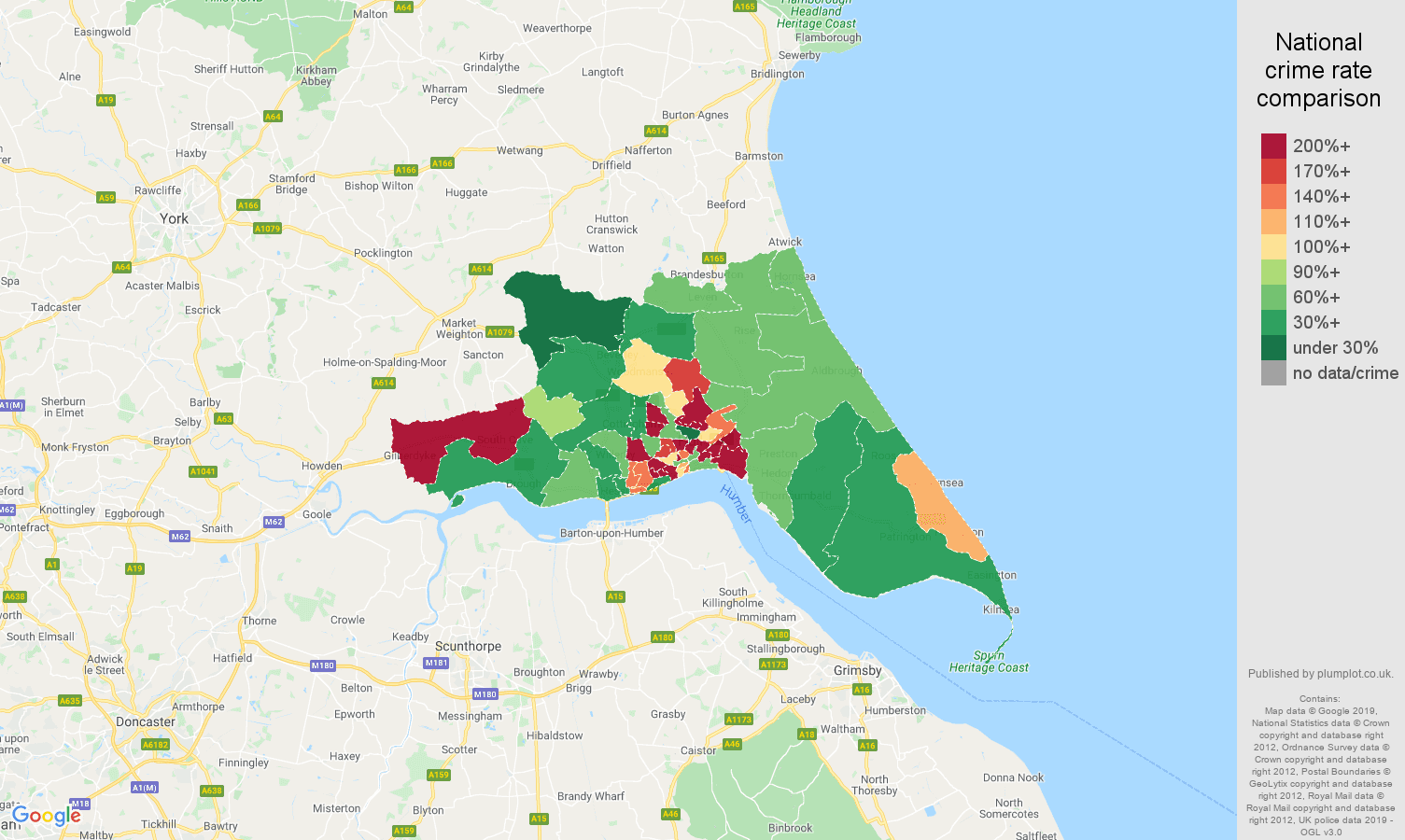 Hull other crime rate comparison map