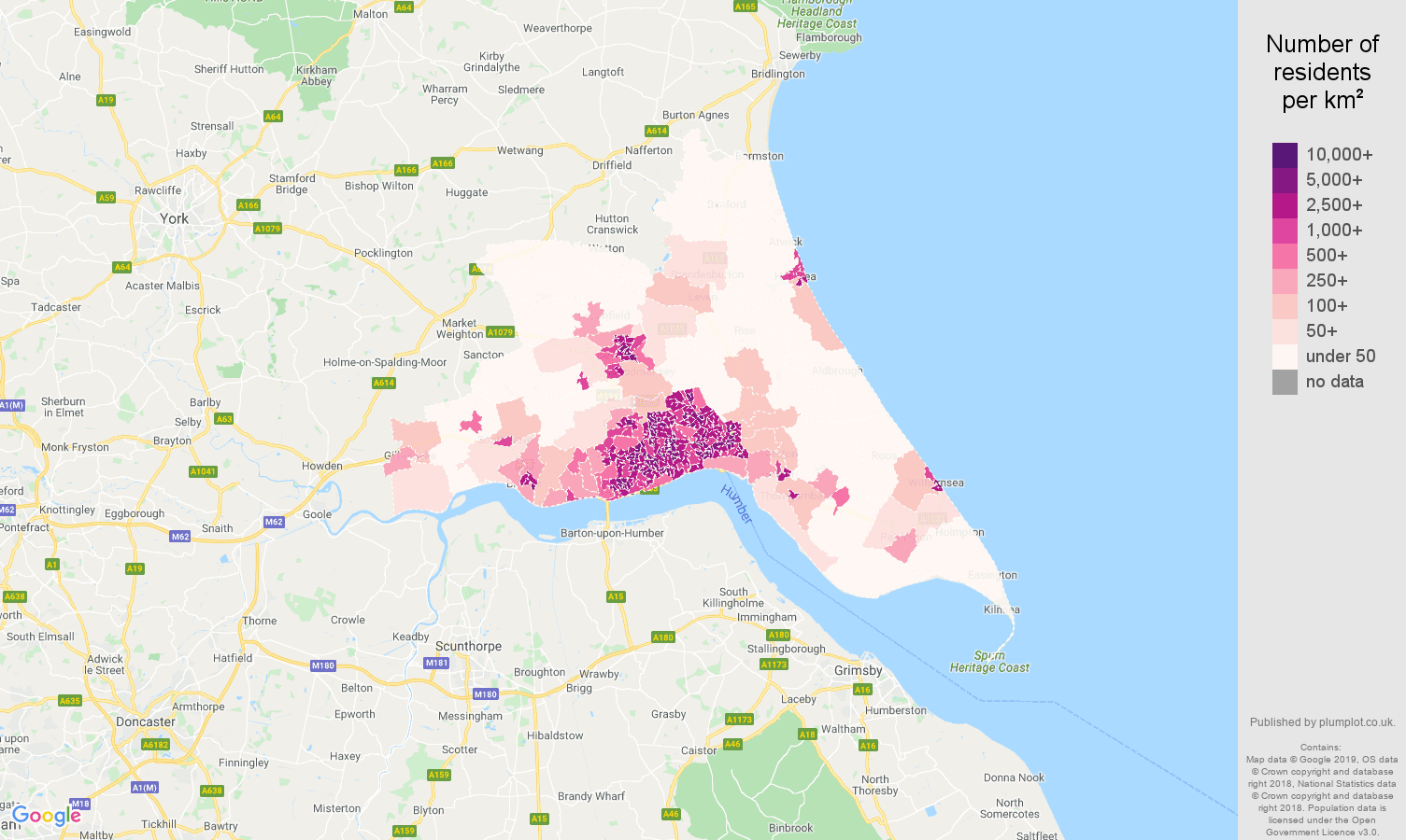 Hull population density map