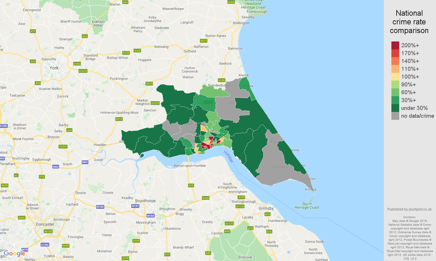 Hull possession of weapons crime rate comparison map