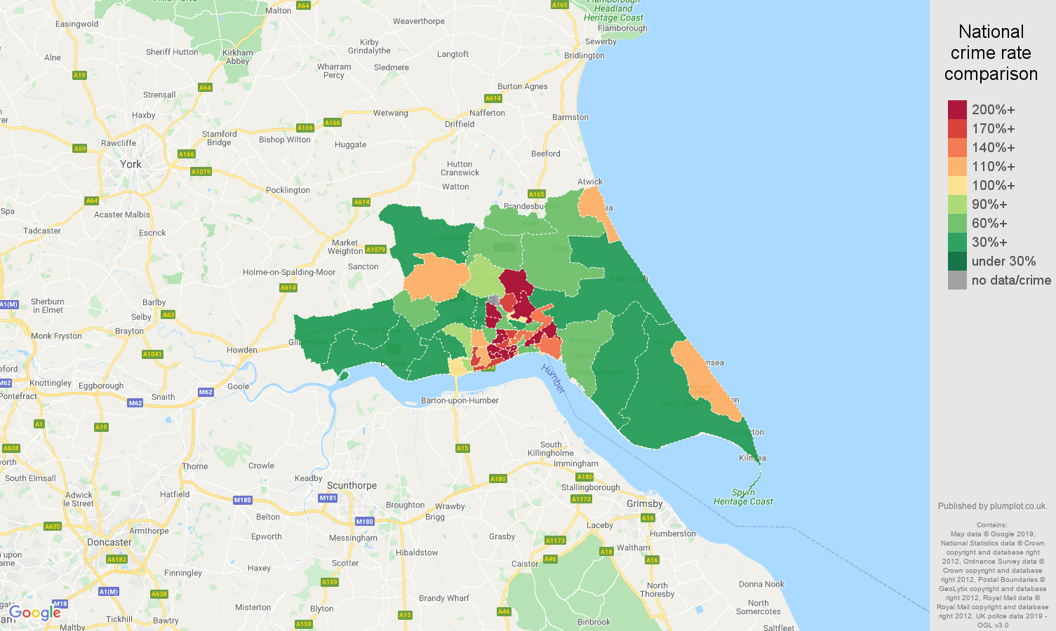 Hull public order crime rate comparison map