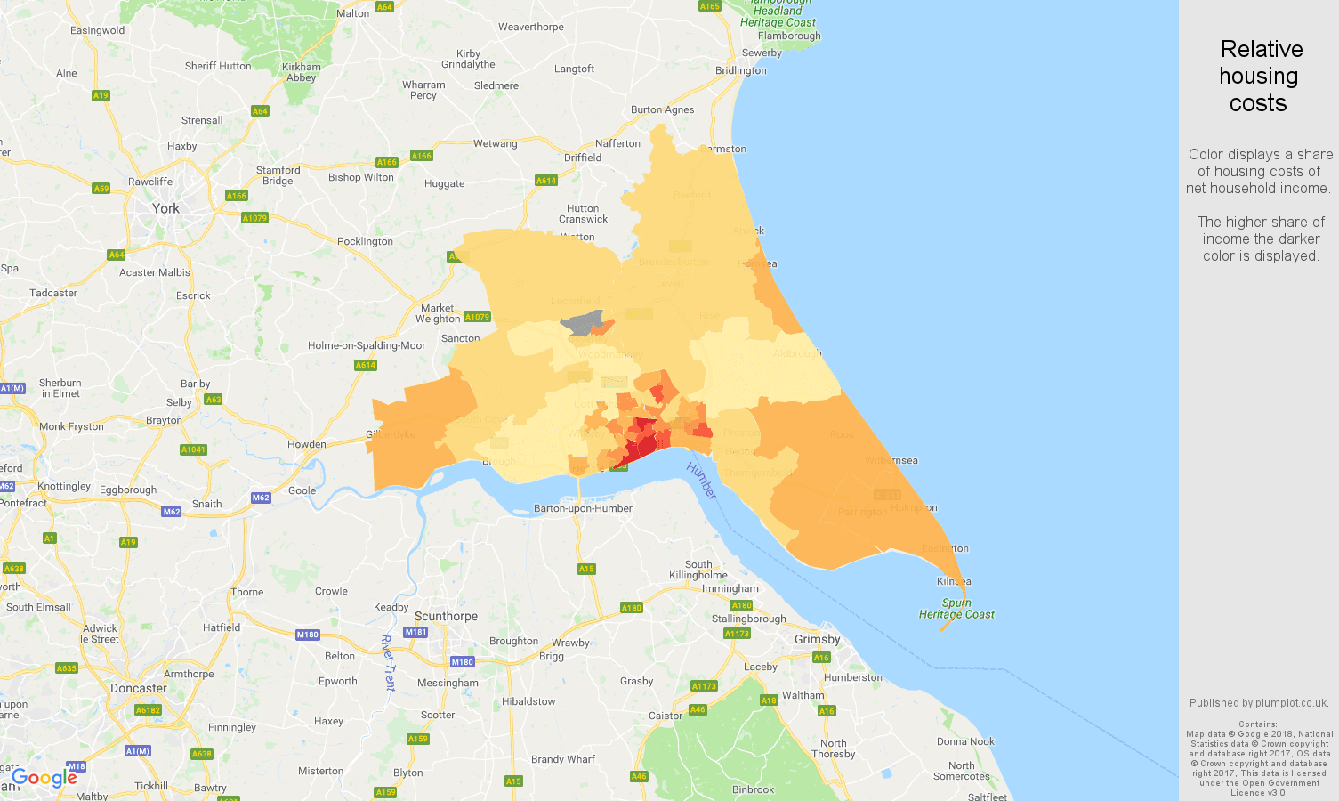 Hull relative housing costs map