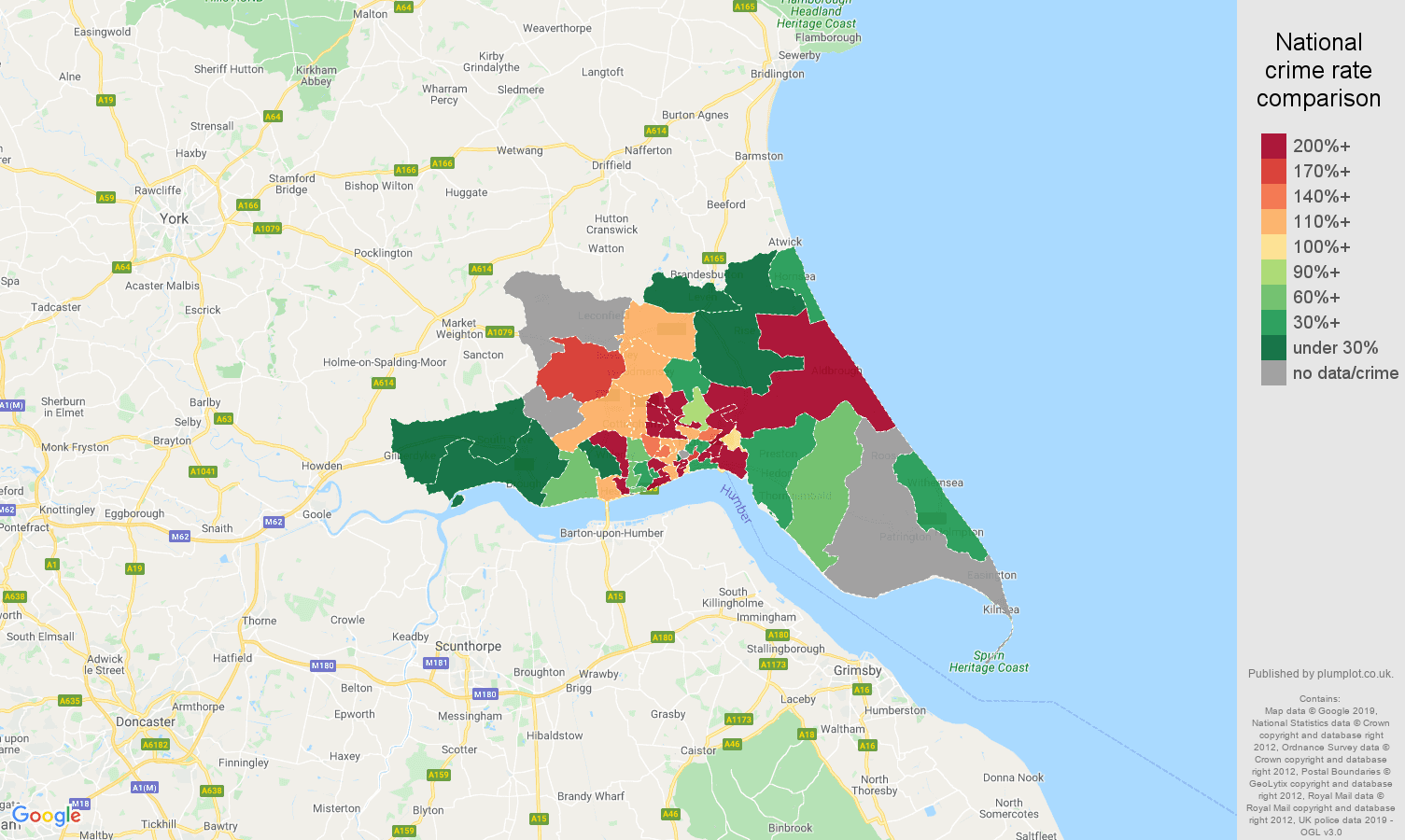 Hull shoplifting crime rate comparison map
