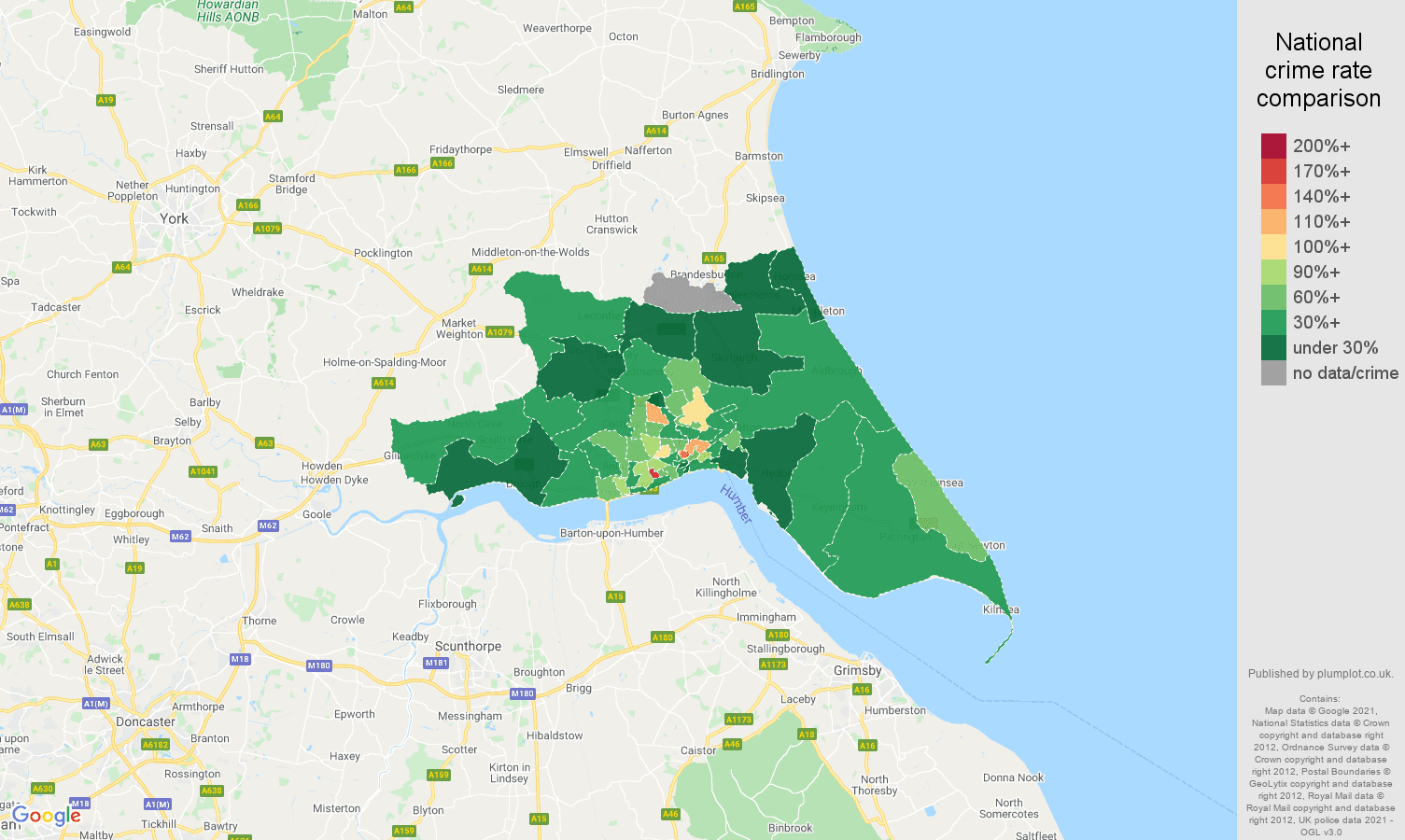 Hull vehicle crime rate comparison map
