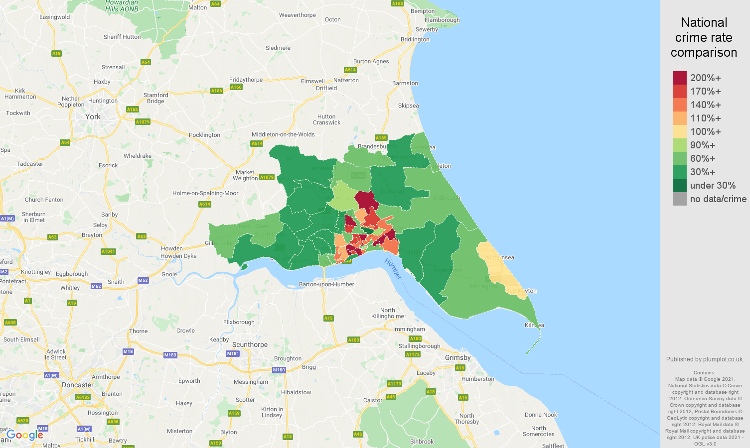 Hull violent crime rate comparison map