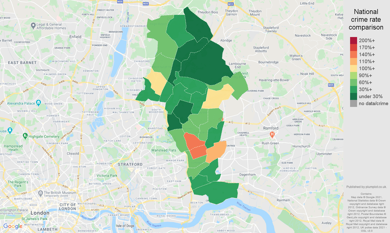 Ilford bicycle theft crime rate comparison map