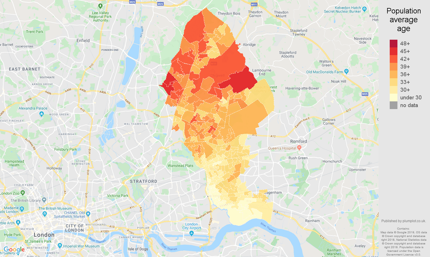 Ilford population average age map